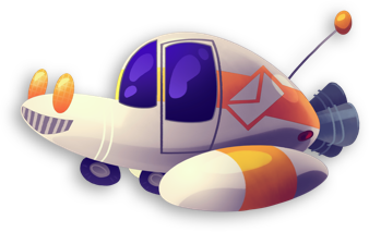 A small spaceship seen in the W.O.R.D. game cutely bobs up and down. Click or press enter to stop/start the animation.